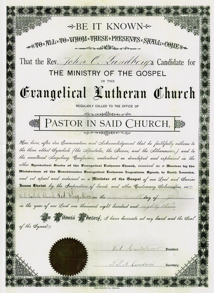 John O. Lundberg Ordained 17 June 1883