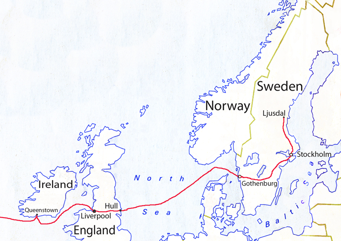Jonas' emigration route